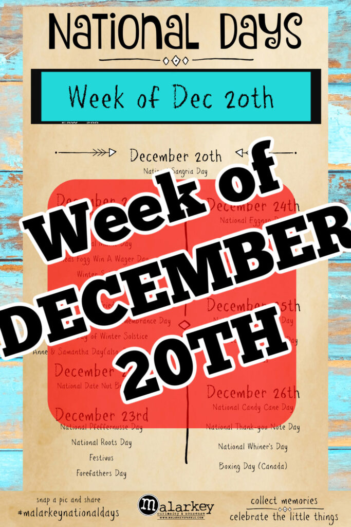 National Days - Week of December 20th through 26th - big red square with those days through it