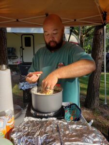 How to make biscuits in the waffle maker, camping style
