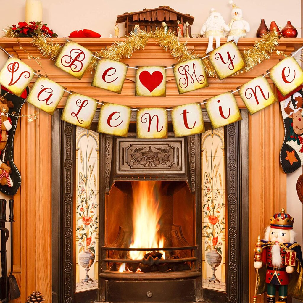 Valentines Day - spread love - sign on fireplace
