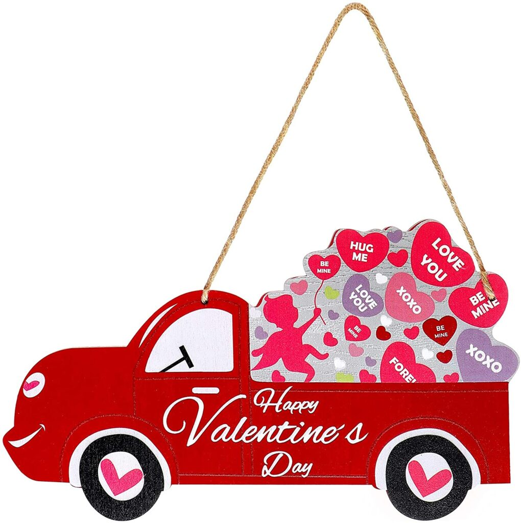 Valentines Day - spread love - truck with hearts in the back sign